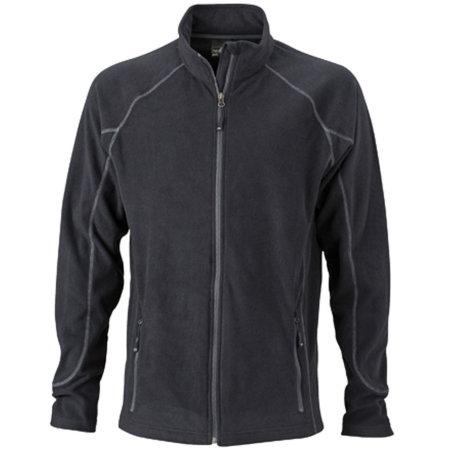 Men`s Structure Fleece Jacket JN597 in Black|Carbon von James+Nicholson (Artnum: JN597