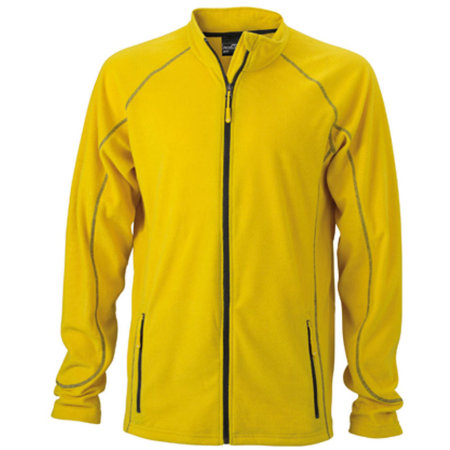 Men`s Structure Fleece Jacket in Yellow|Carbon von James+Nicholson (Artnum: JN597