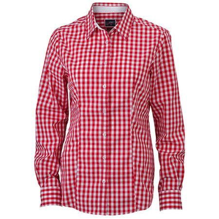 Ladies` Checked Blouse in Red|White von James+Nicholson (Artnum: JN616