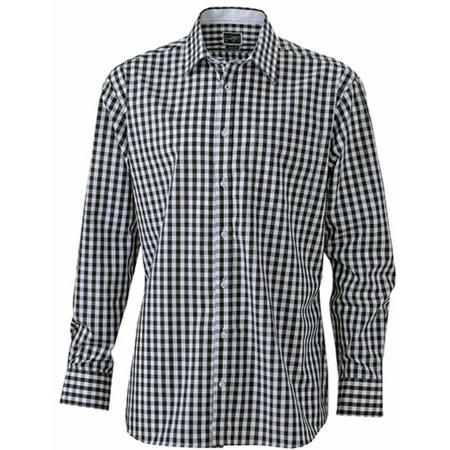 Men`s Checked Shirt in Black|White von James+Nicholson (Artnum: JN617