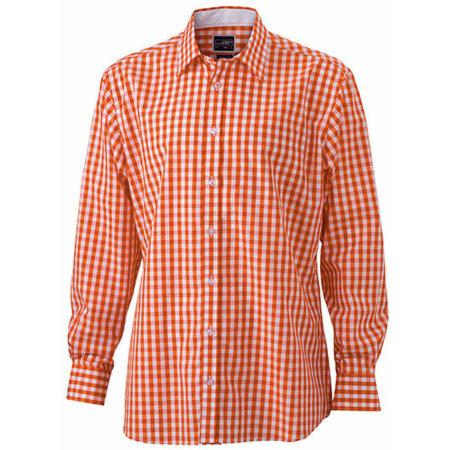 Men`s Checked Shirt in Dark Orange|White von James+Nicholson (Artnum: JN617