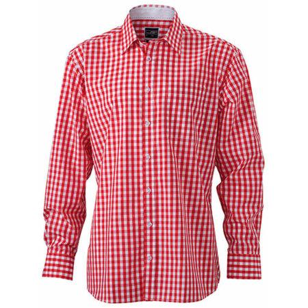 Men`s Checked Shirt in Red|White von James+Nicholson (Artnum: JN617
