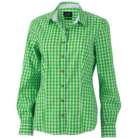 Ladies` Traditional Shirt in Green White von James+Nicholson (Artnum: JN637