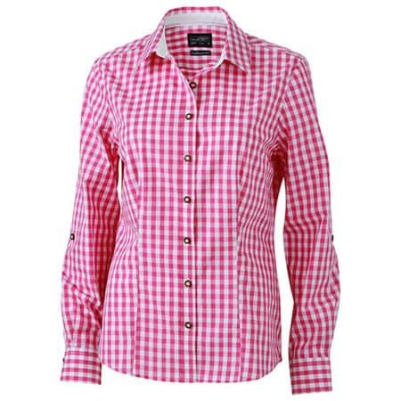 Ladies` Traditional Shirt in Purple White von James+Nicholson (Artnum: JN637