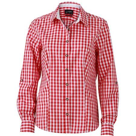 Ladies` Traditional Shirt in Red|White von James+Nicholson (Artnum: JN637