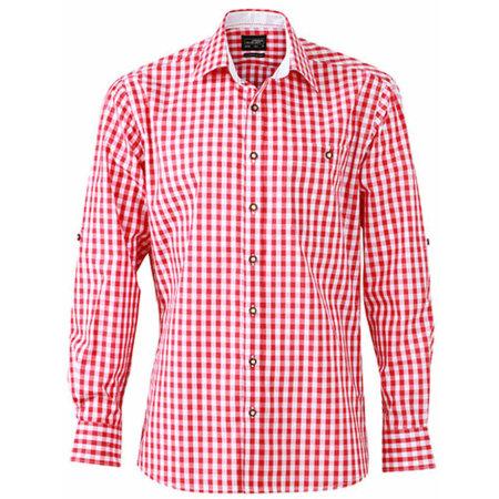 Men`s Traditional Shirt in Red|White von James+Nicholson (Artnum: JN638