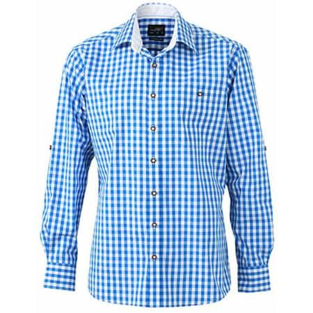 Men`s Traditional Shirt in Royal|White von James+Nicholson (Artnum: JN638