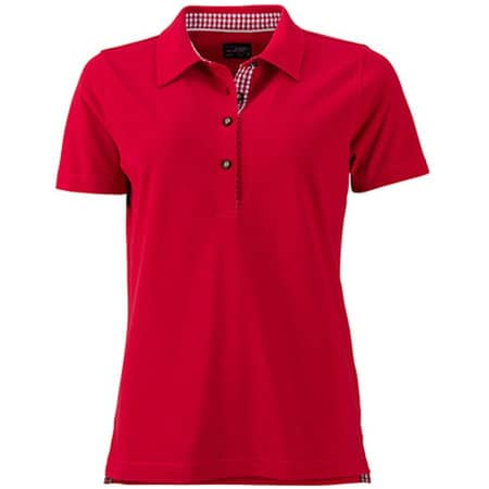 Ladies` Traditional Polo in Red|Red|White von James+Nicholson (Artnum: JN715