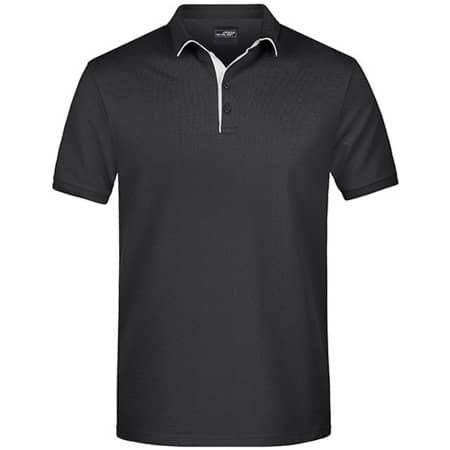 Men`s Polo Single Stripe in Black|White von James+Nicholson (Artnum: JN726