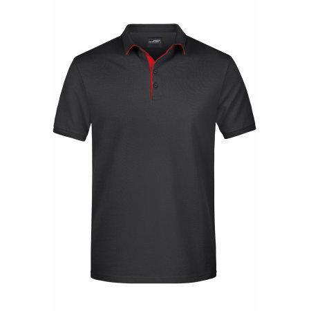 Men`s Polo Single Stripe in Black|Red von James+Nicholson (Artnum: JN726