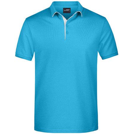 Men`s Polo Single Stripe in Turquoise White von James+Nicholson (Artnum: JN726