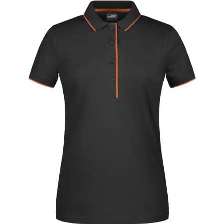 Ladies` Polo Stripe in Black|Orange von James+Nicholson (Artnum: JN727