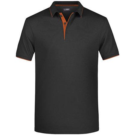 Men`s Polo Stripe in Black|Orange von James+Nicholson (Artnum: JN728