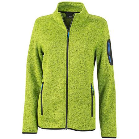 Ladies` Knitted Fleece Jacket in Kiwi Melange Royal von James+Nicholson (Artnum: JN761