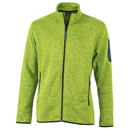 Men`s Knitted Fleece Jacket in Kiwi Melange Royal von James+Nicholson (Artnum: JN762