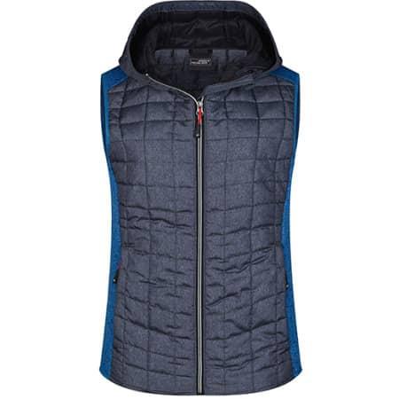 Ladies` Knitted Hybrid Vest in Royal Melange|Anthracite Melange von James+Nicholson (Artnum: JN767