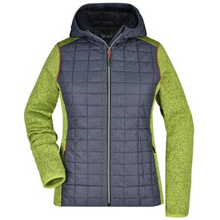 Ladies` Knitted Hybrid Jacket in Kiwi Melange Anthracite Melange von James+Nicholson (Artnum: JN771