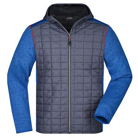 Men`s Knitted Hybrid Jacket in Royal Melange Anthracite Melange von James+Nicholson (Artnum: JN772