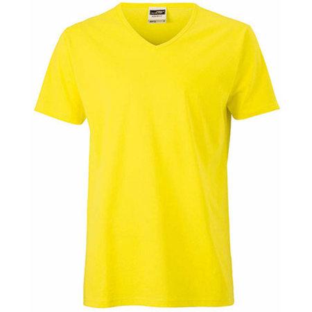 Men`s Slim Fit V-T in Yellow von James+Nicholson (Artnum: JN912