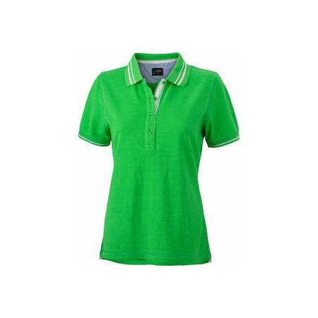Ladies` Lifestyle Polo in Green|Off-White von James+Nicholson (Artnum: JN946
