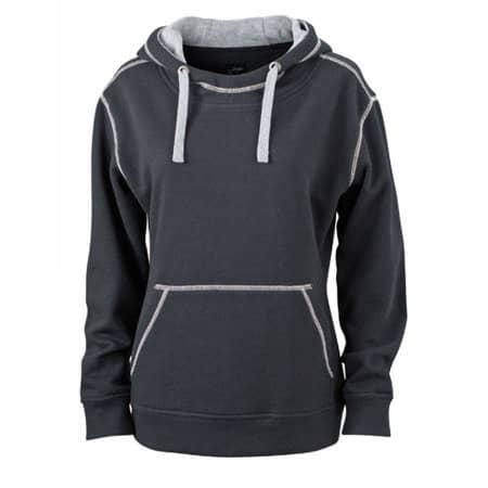 Ladies` Lifestyle Hoody in Black|Grey Heather von James+Nicholson (Artnum: JN960