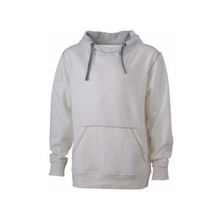 Men`s Lifestyle Hoody in Off-White|Grey Heather von James+Nicholson (Artnum: JN961