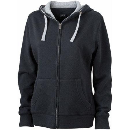 Ladies` Lifestyle Zip-Hoody in Black|Grey Heather von James+Nicholson (Artnum: JN962