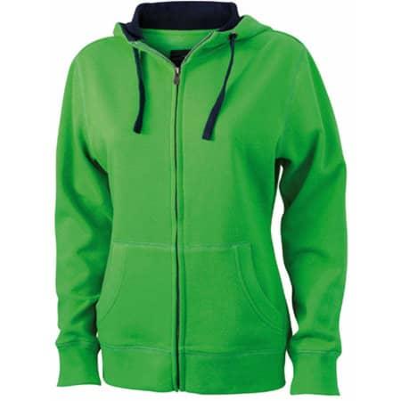 Ladies` Lifestyle Zip-Hoody in Green|Navy von James+Nicholson (Artnum: JN962