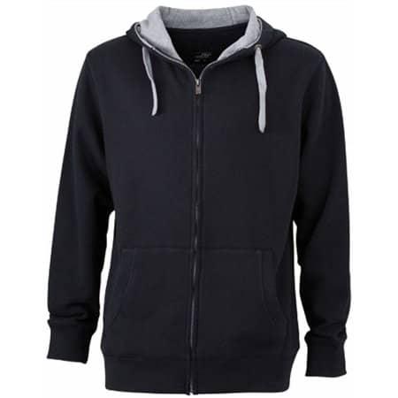 Men`s Lifestyle Zip-Hoody in Black|Grey Heather von James+Nicholson (Artnum: JN963