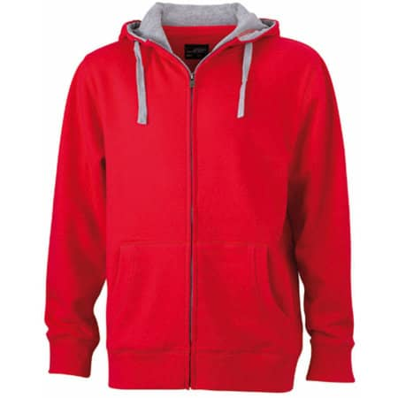 Men`s Lifestyle Zip-Hoody in Red|Grey Heather von James+Nicholson (Artnum: JN963