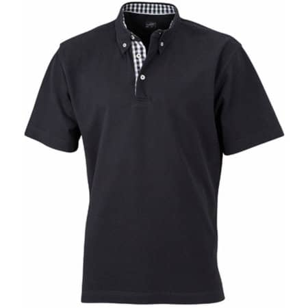 Men`s Plain Polo in Black|Black|White von James+Nicholson (Artnum: JN964