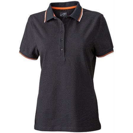 Ladies` Coldblack® Polo in Black|White|Orange von James+Nicholson (Artnum: JN965