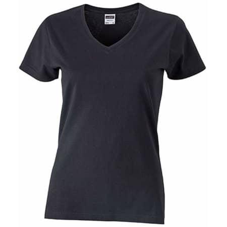Ladies` Slim Fit V-T in Black von James+Nicholson (Artnum: JN972