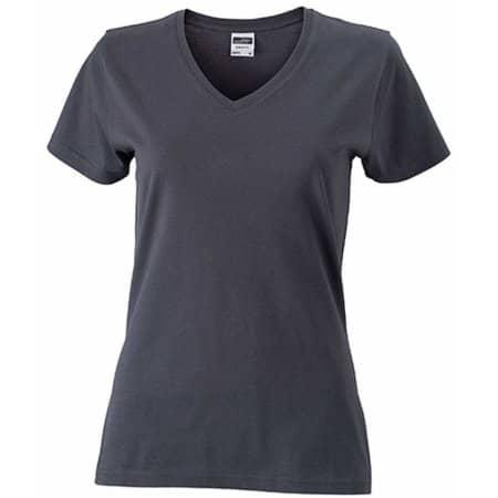 Ladies` Slim Fit V-T in Graphite (Solid) von James+Nicholson (Artnum: JN972