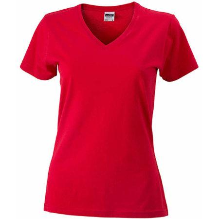 Ladies` Slim Fit V-T in Red von James+Nicholson (Artnum: JN972
