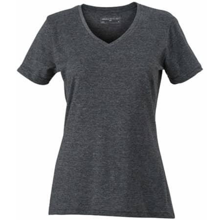 Ladies` Heather T-Shirt in Black Melange von James+Nicholson (Artnum: JN973