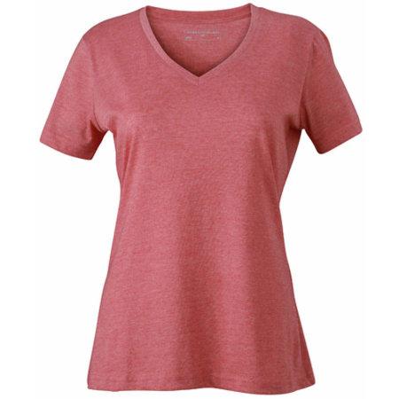 Ladies` Heather T-Shirt in Red Melange von James+Nicholson (Artnum: JN973
