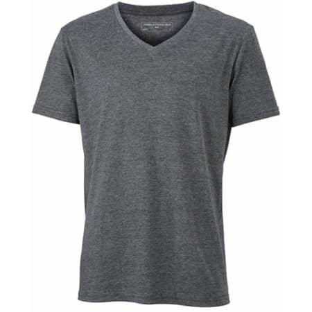 Men`s Heather T-Shirt in Black Melange von James+Nicholson (Artnum: JN974