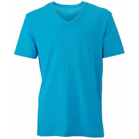 Men`s Heather T-Shirt in Turquoise Melange von James+Nicholson (Artnum: JN974