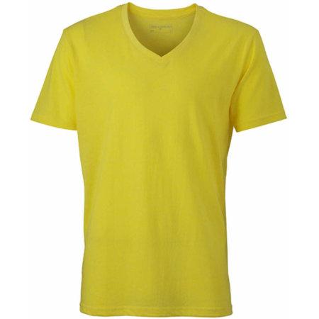 Men`s Heather T-Shirt in Yellow Melange von James+Nicholson (Artnum: JN974