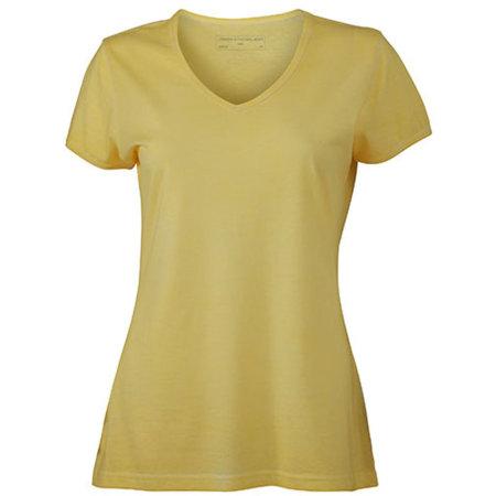 Ladies` Gipsy T-Shirt in Light Yellow von James+Nicholson (Artnum: JN975