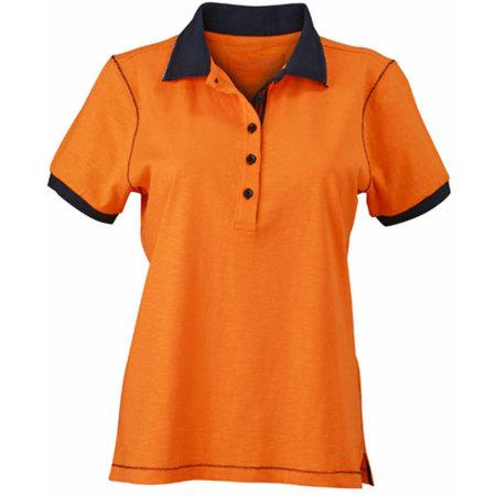 Ladies` Urban Polo in Orange|Navy von James+Nicholson (Artnum: JN979