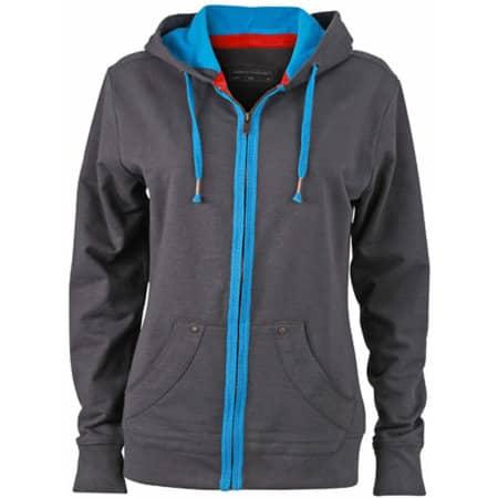 Ladies` Urban Hooded Sweat Jacket in Graphite (Solid)|Azur von James+Nicholson (Artnum: JN981