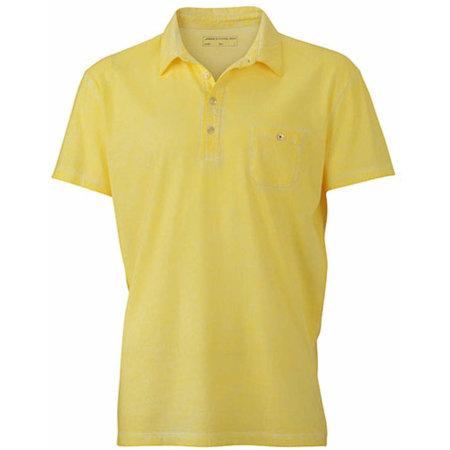 Men`s Gipsy Polo in Light Yellow von James+Nicholson (Artnum: JN988
