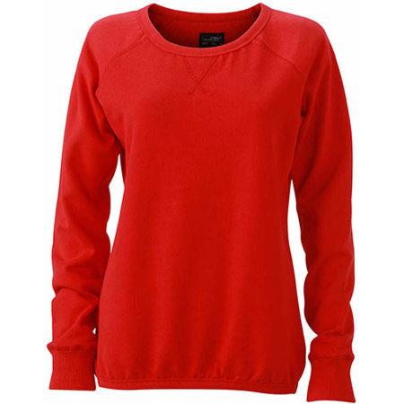 Ladies` Basic Sweat in Red von James+Nicholson (Artnum: JN991