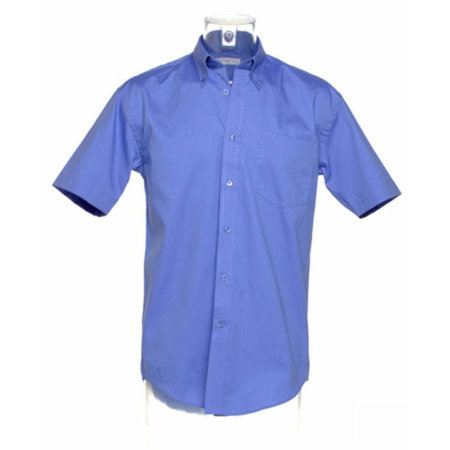 Men`s Corporate Oxford Shirt Short Sleeve in Mid Blue von Kustom Kit (Artnum: K109