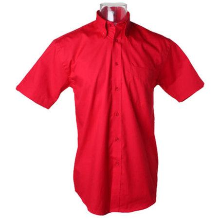 Men`s Corporate Oxford Shirt Short Sleeve in Red von Kustom Kit (Artnum: K109