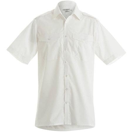 Men`s Pilot Shirt Short Sleeve in White von Kustom Kit (Artnum: K133
