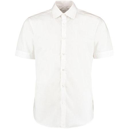 Men`s Slim Fit Business Shirt Short Sleeve in White von Kustom Kit (Artnum: K191