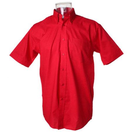 Men`s Workwear Oxford Shirt Short Sleeve in Red von Kustom Kit (Artnum: K350